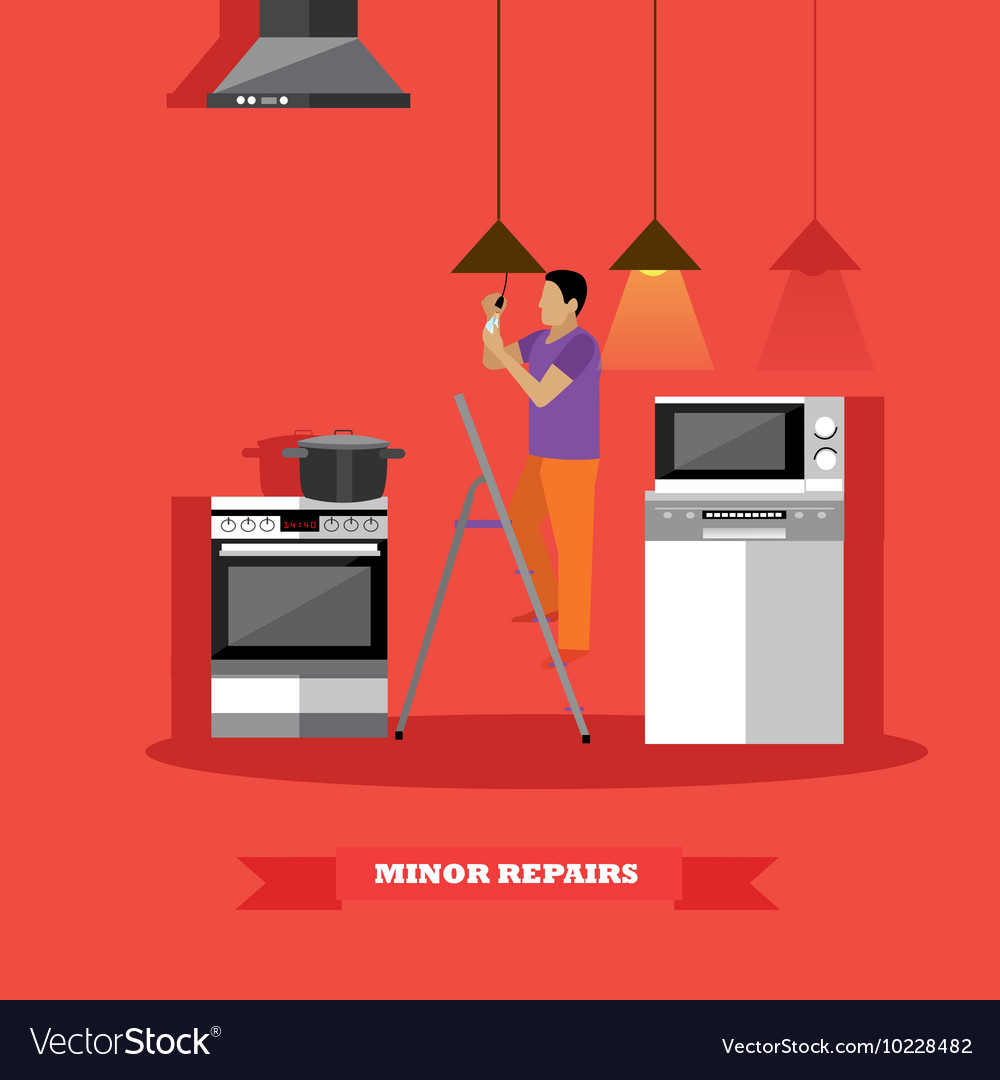 Man changing lamp bulb in kitchen vector