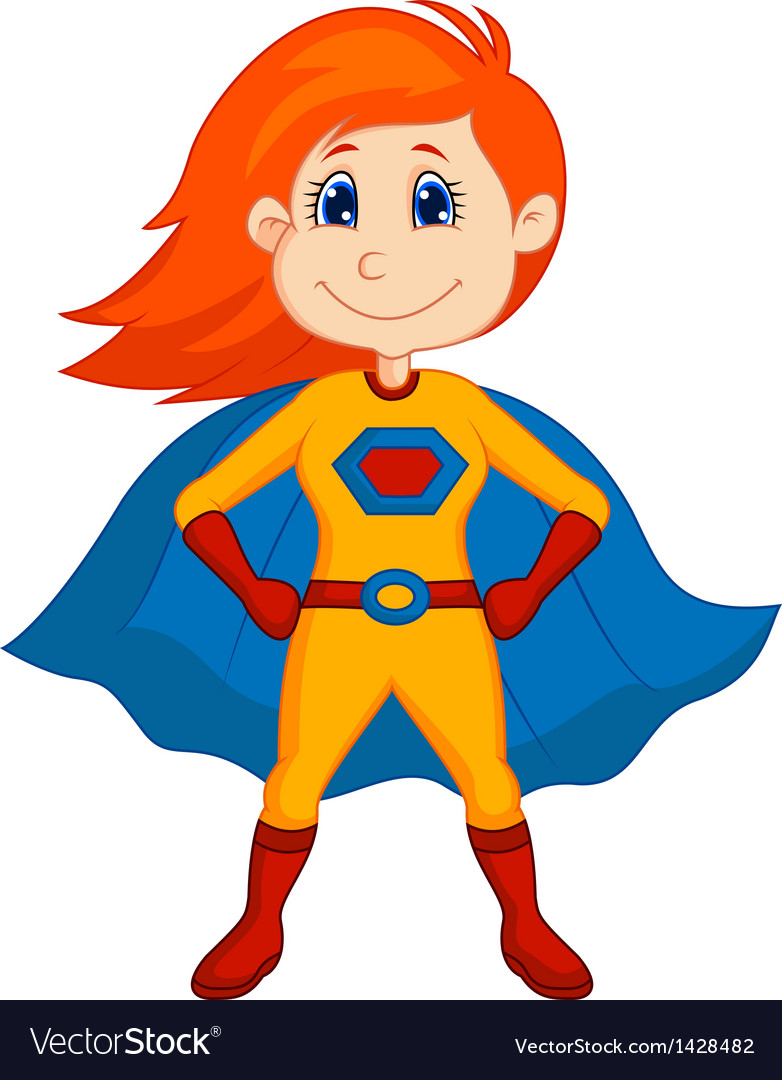 Superhero kid cartoon vector