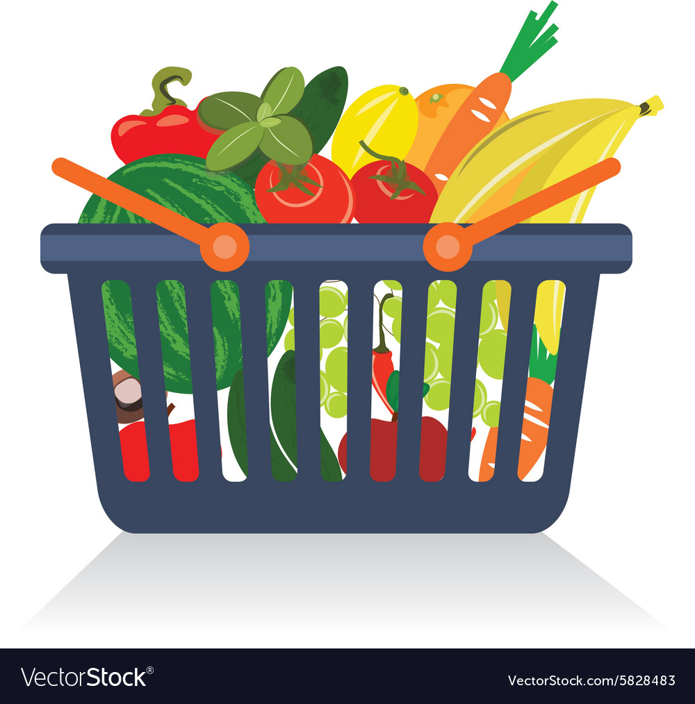 Fruits and vegetables in a basket vector