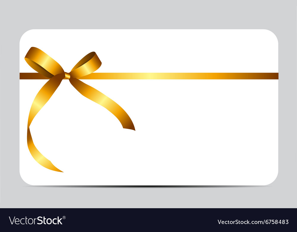 Gift card with gold ribbon and bow vector