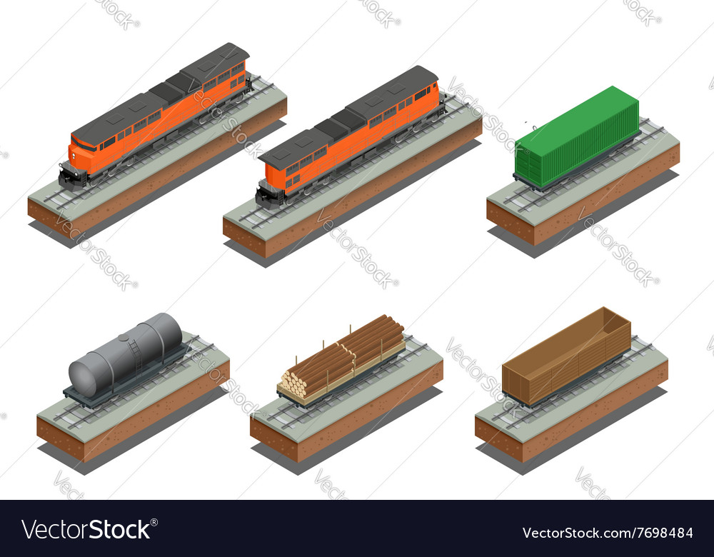 Diesel locomotive rail covered wagon open rail vector