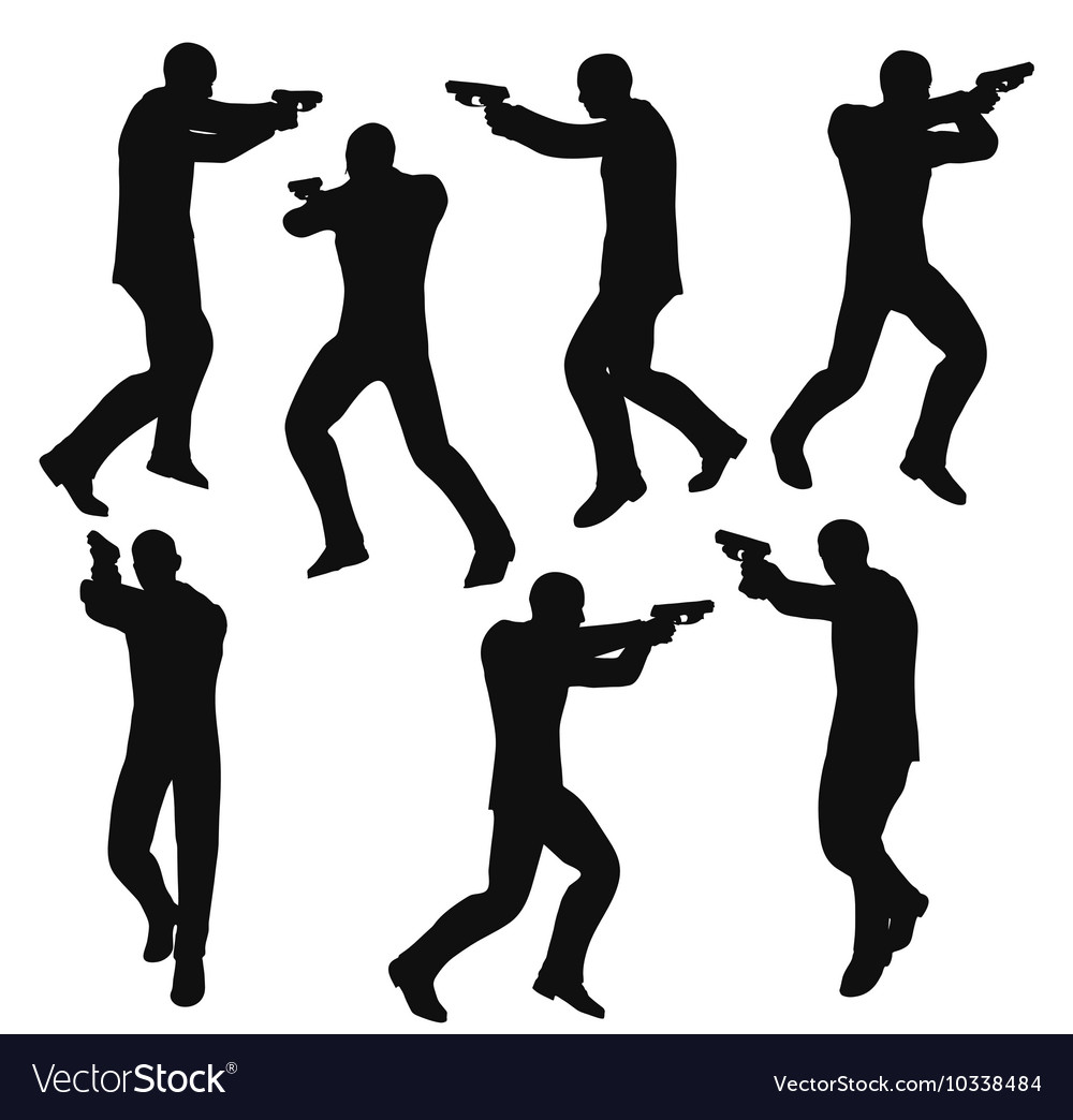 Gunman businessman silhouette in black vector
