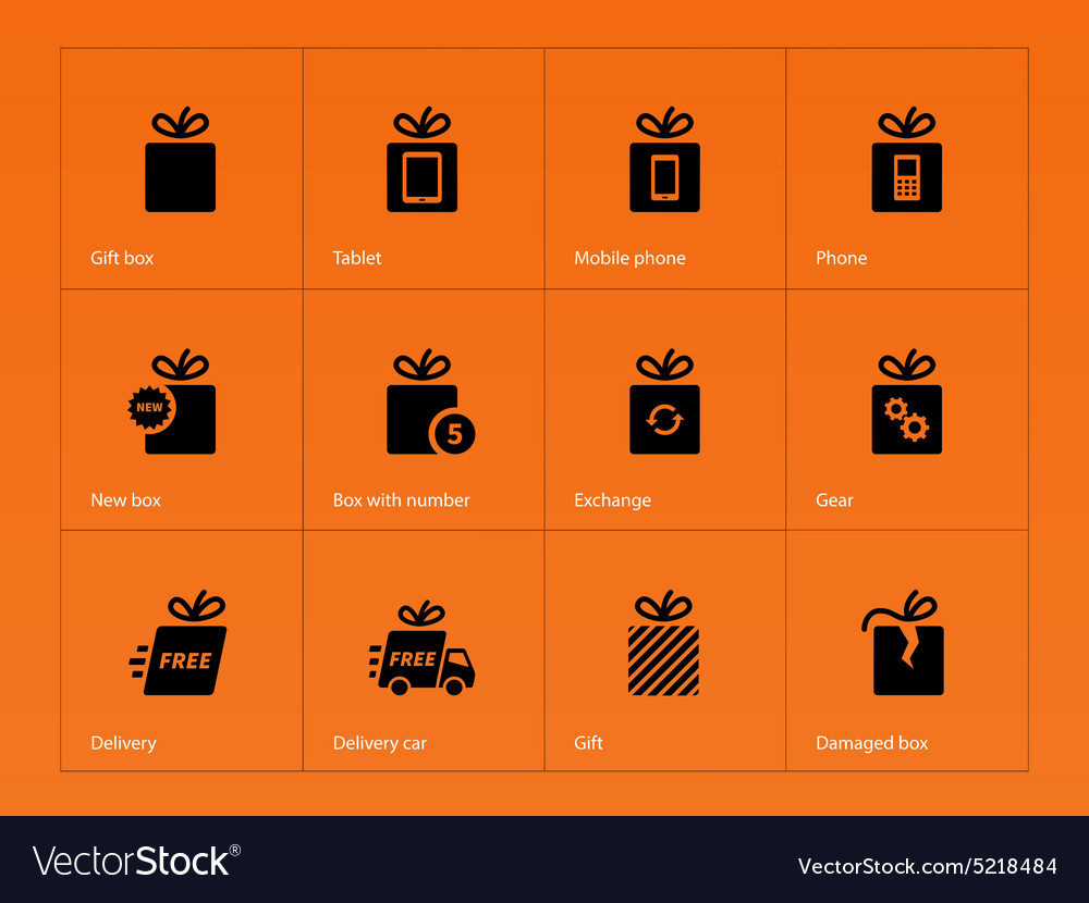 Presents box icons on orange background vector
