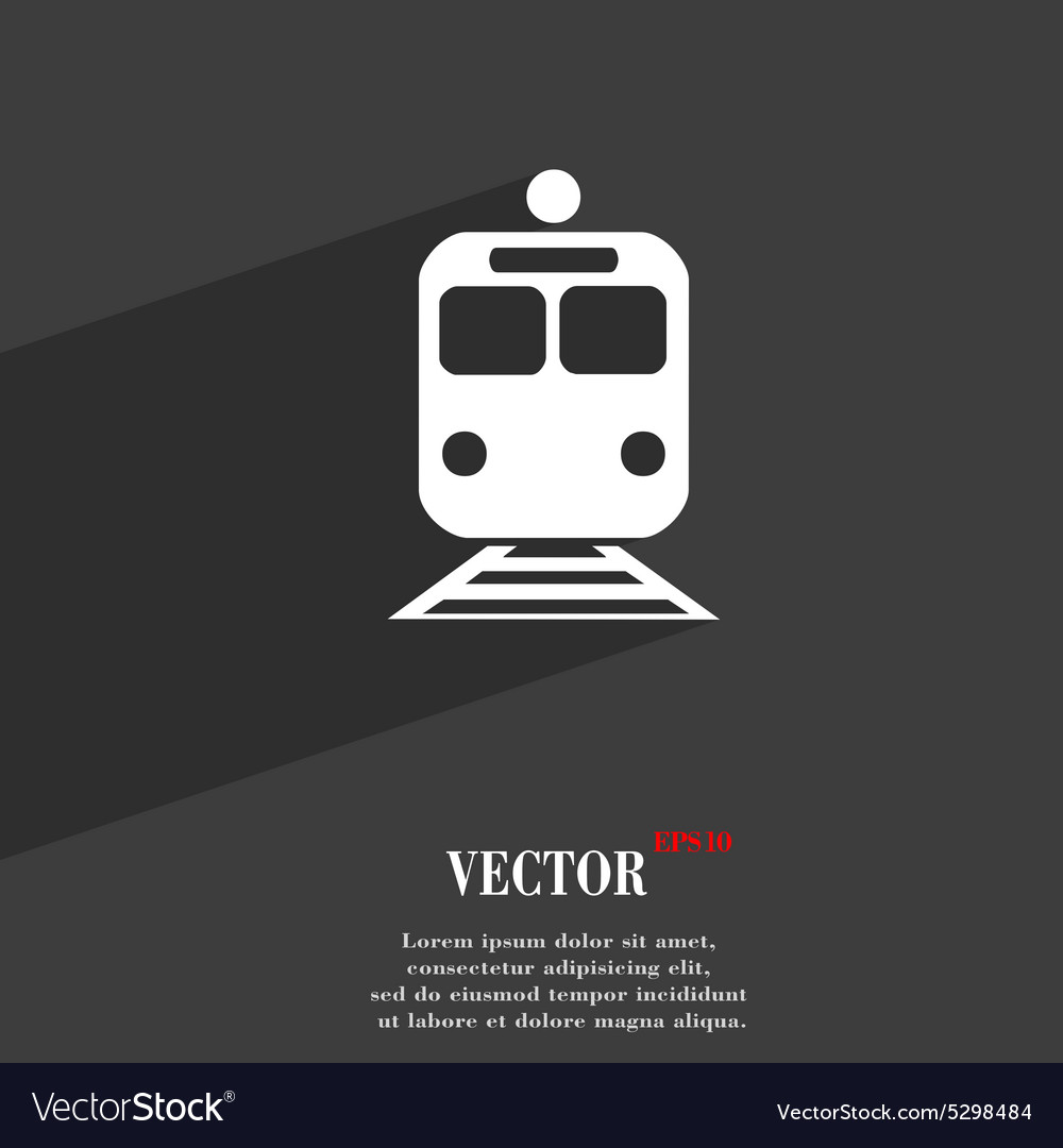 Train icon symbol flat modern web design with long vector