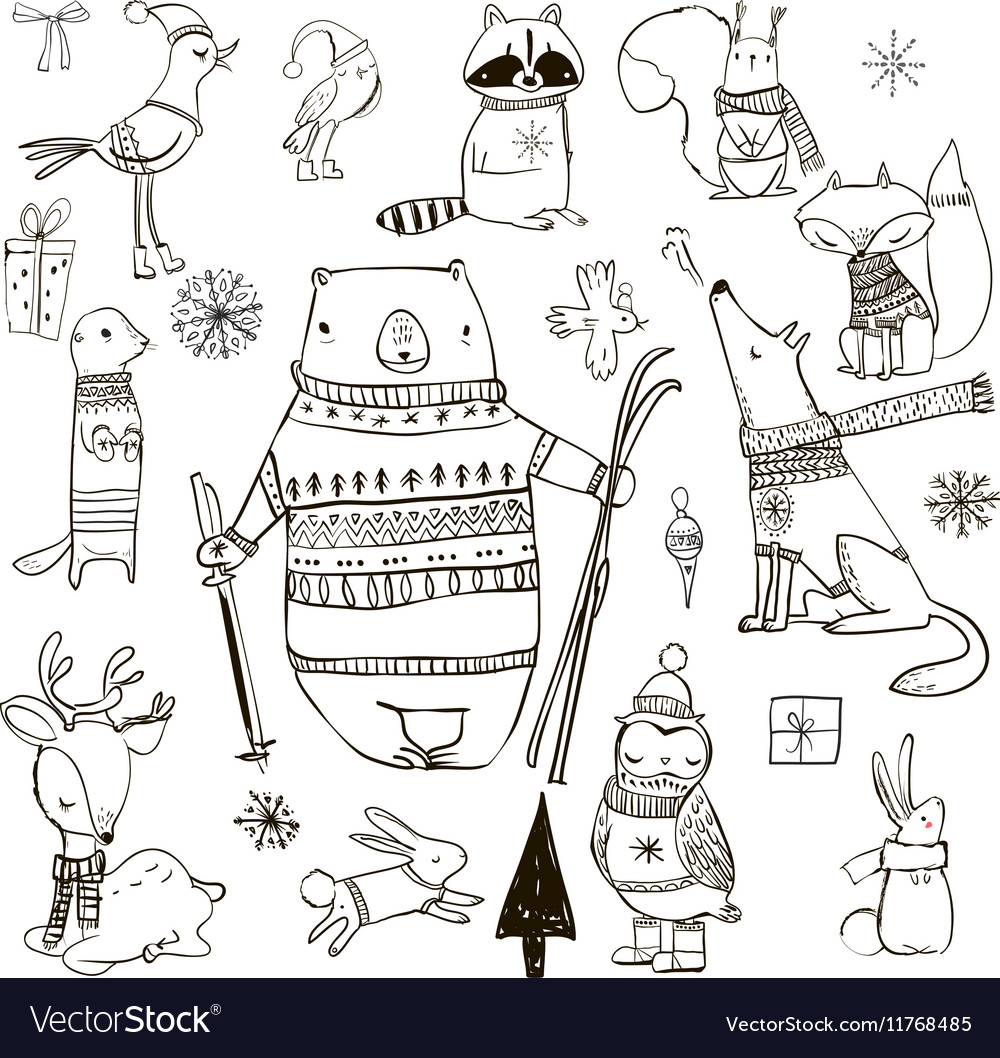 Set with cute winter animals vector
