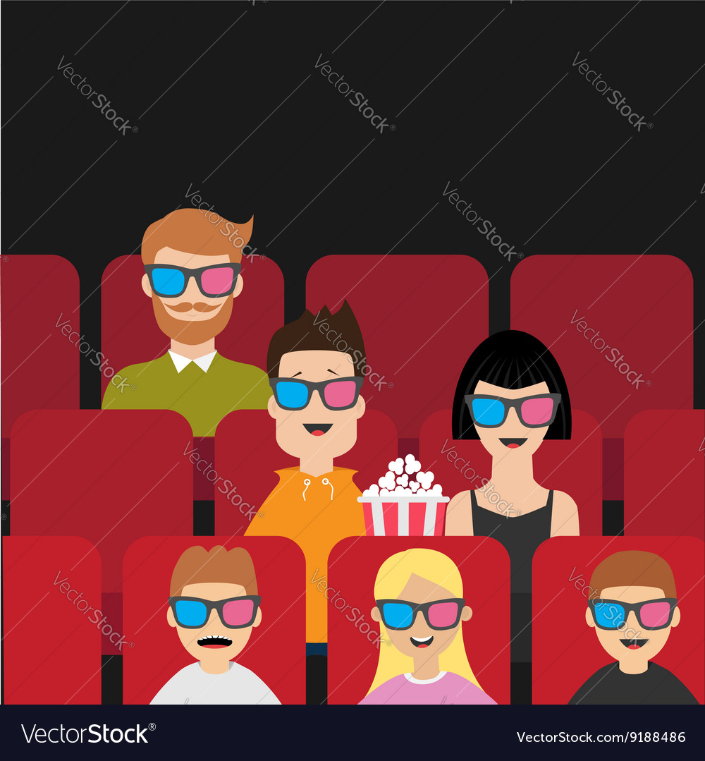 People sitting in movie theater eating popcorn vector
