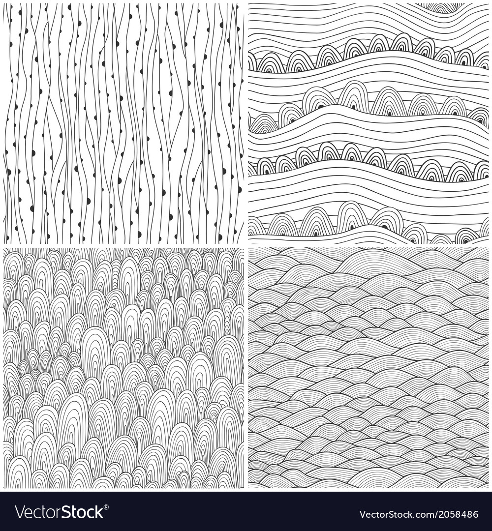 Set of four seamless abstract handdrawn pattern vector