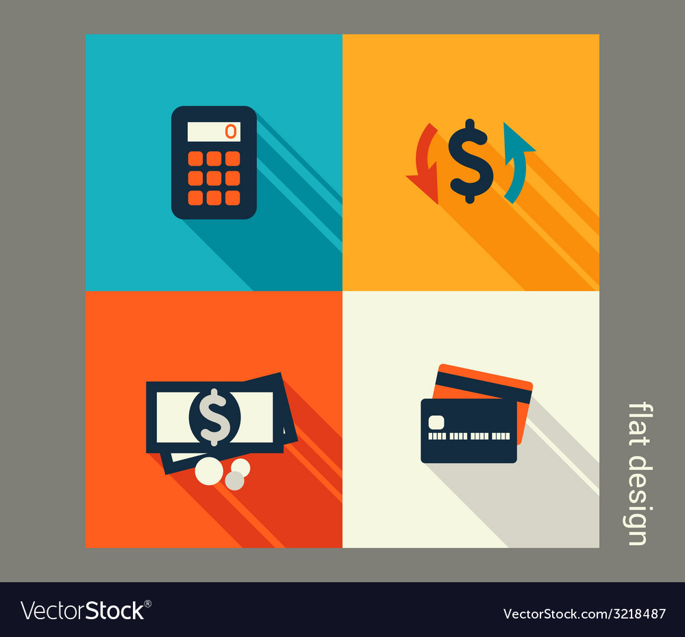 Business icon set finance and banking ecommerce vector