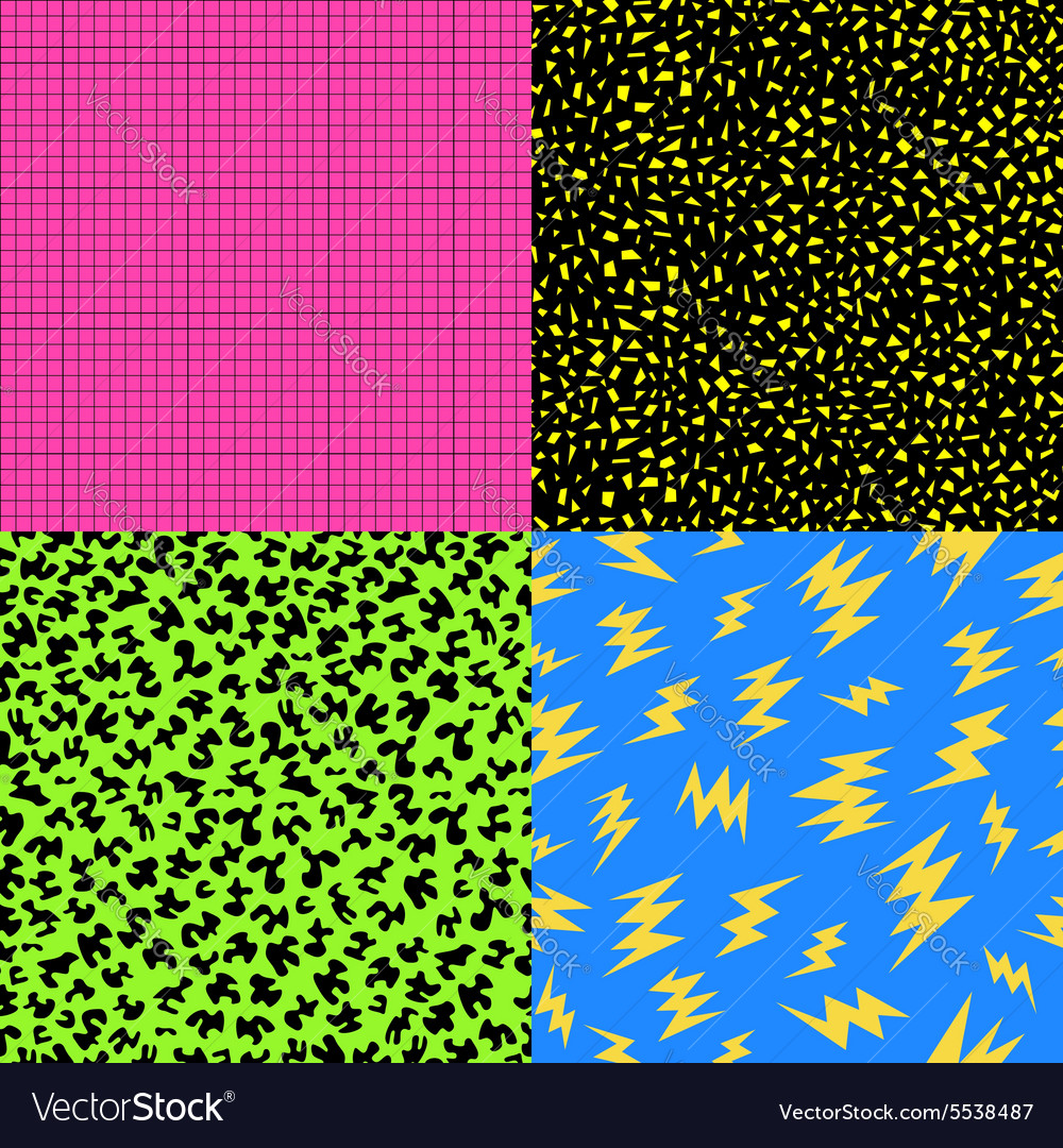 Retro 80s seamless pattern background set vector