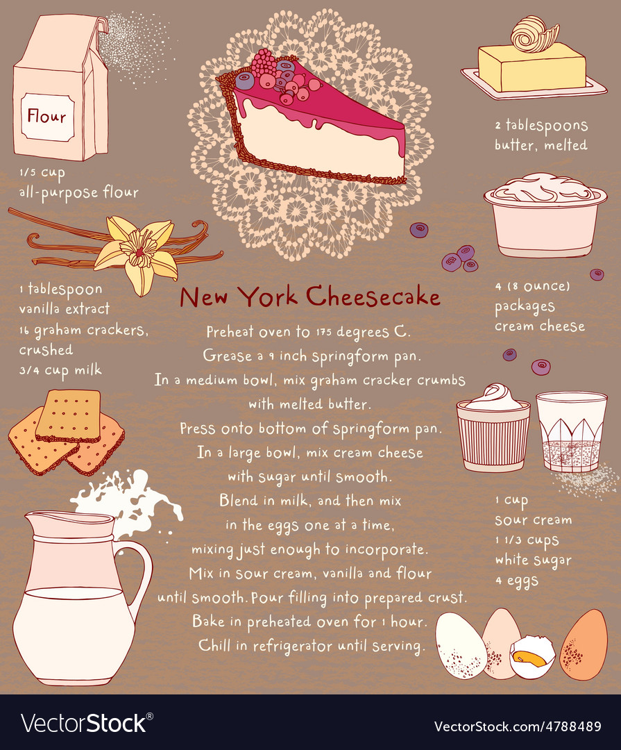 Cheesecake recipe card vector