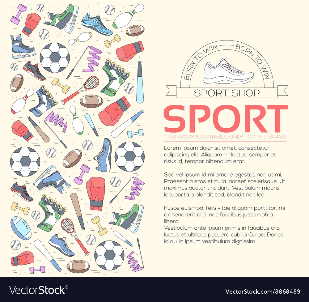 Circular concept of sports equipment background vector