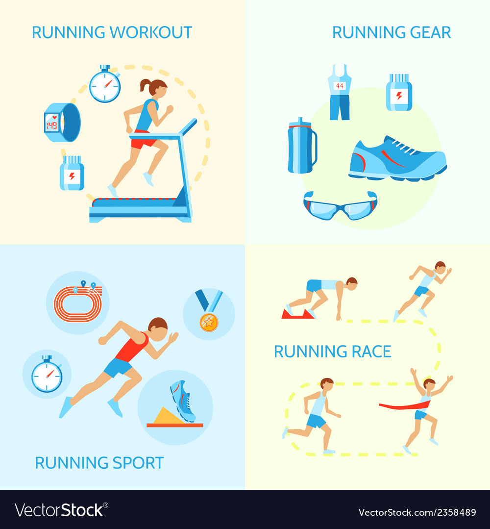 Running icons composition vector