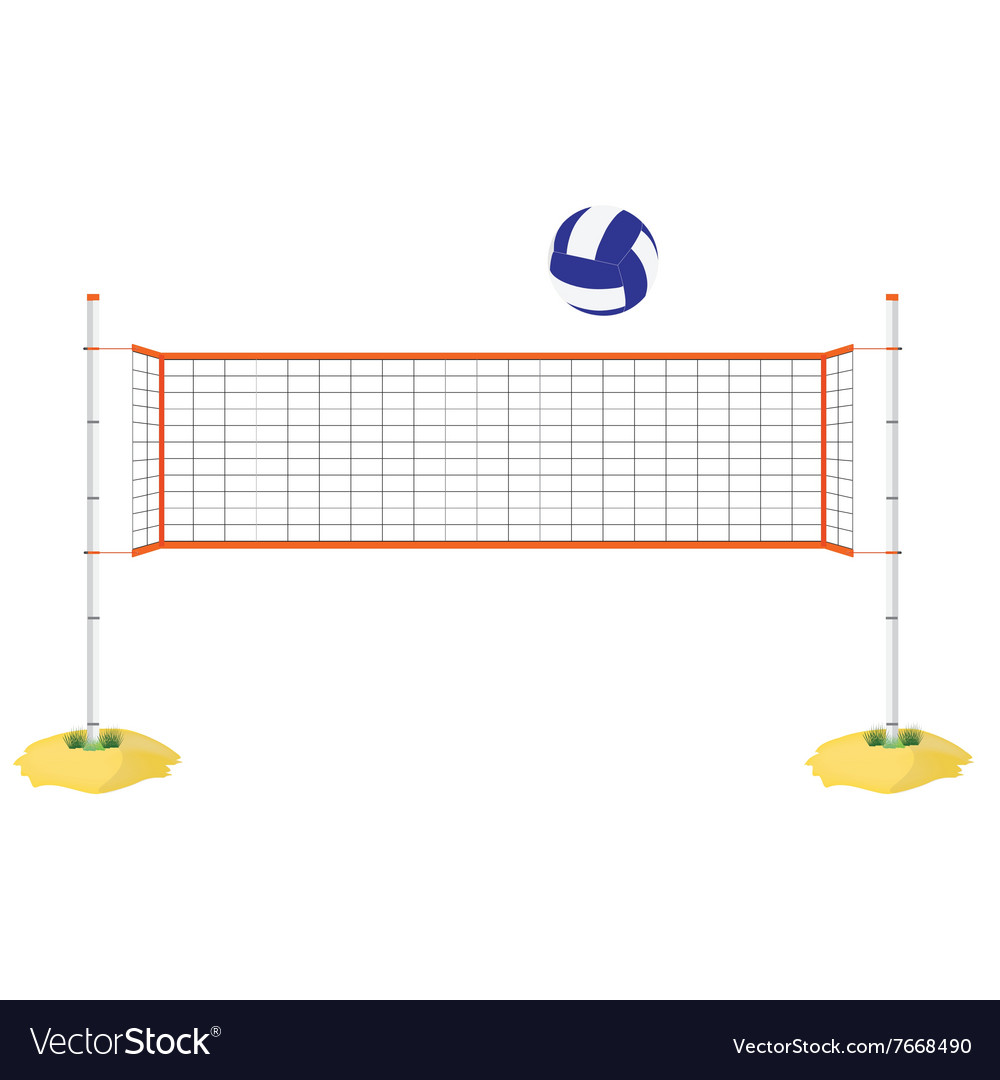 Volleyball net and ball vector