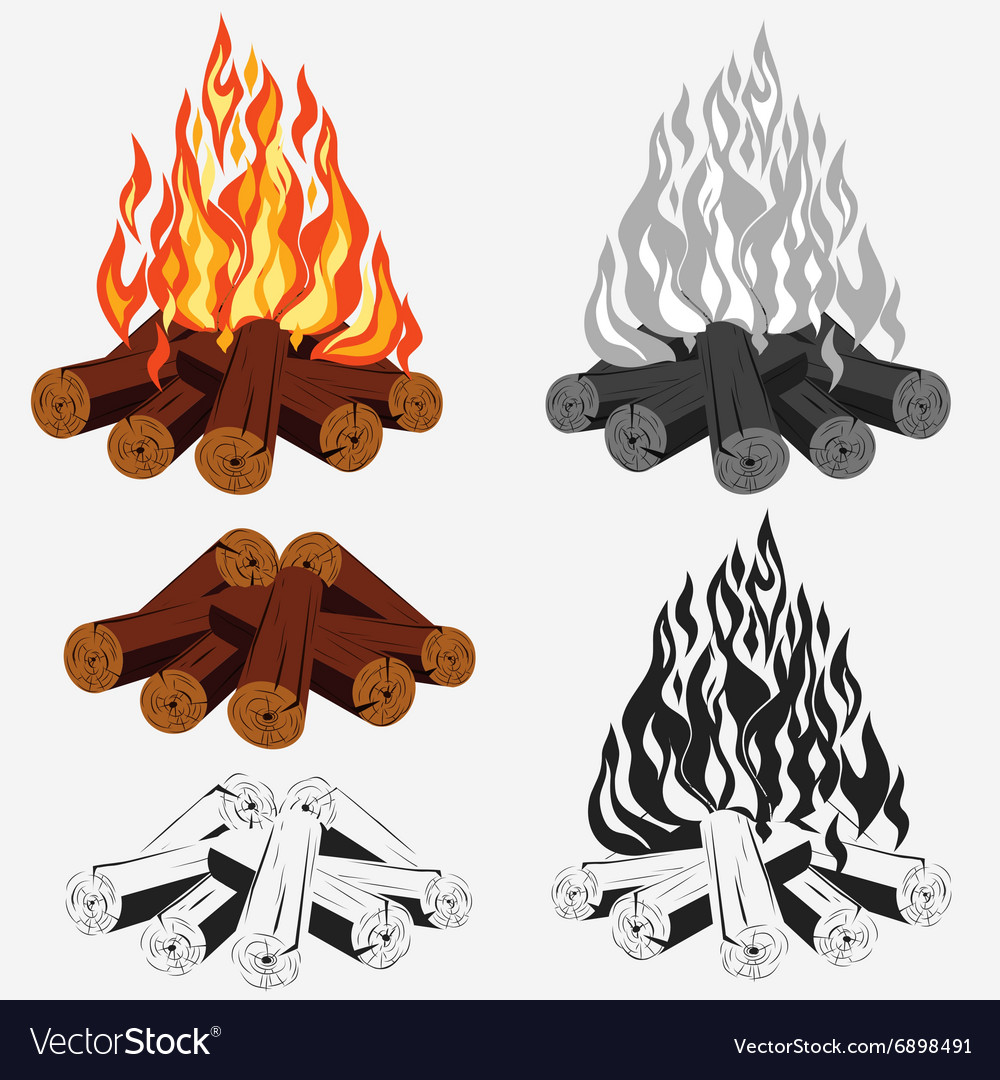 Bonfire set  camping vector