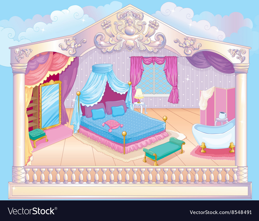 Fairytale luxury princess bedroom vector