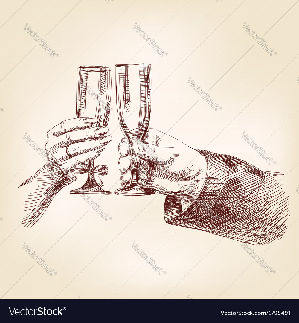 Two hands with champagne glasses vector