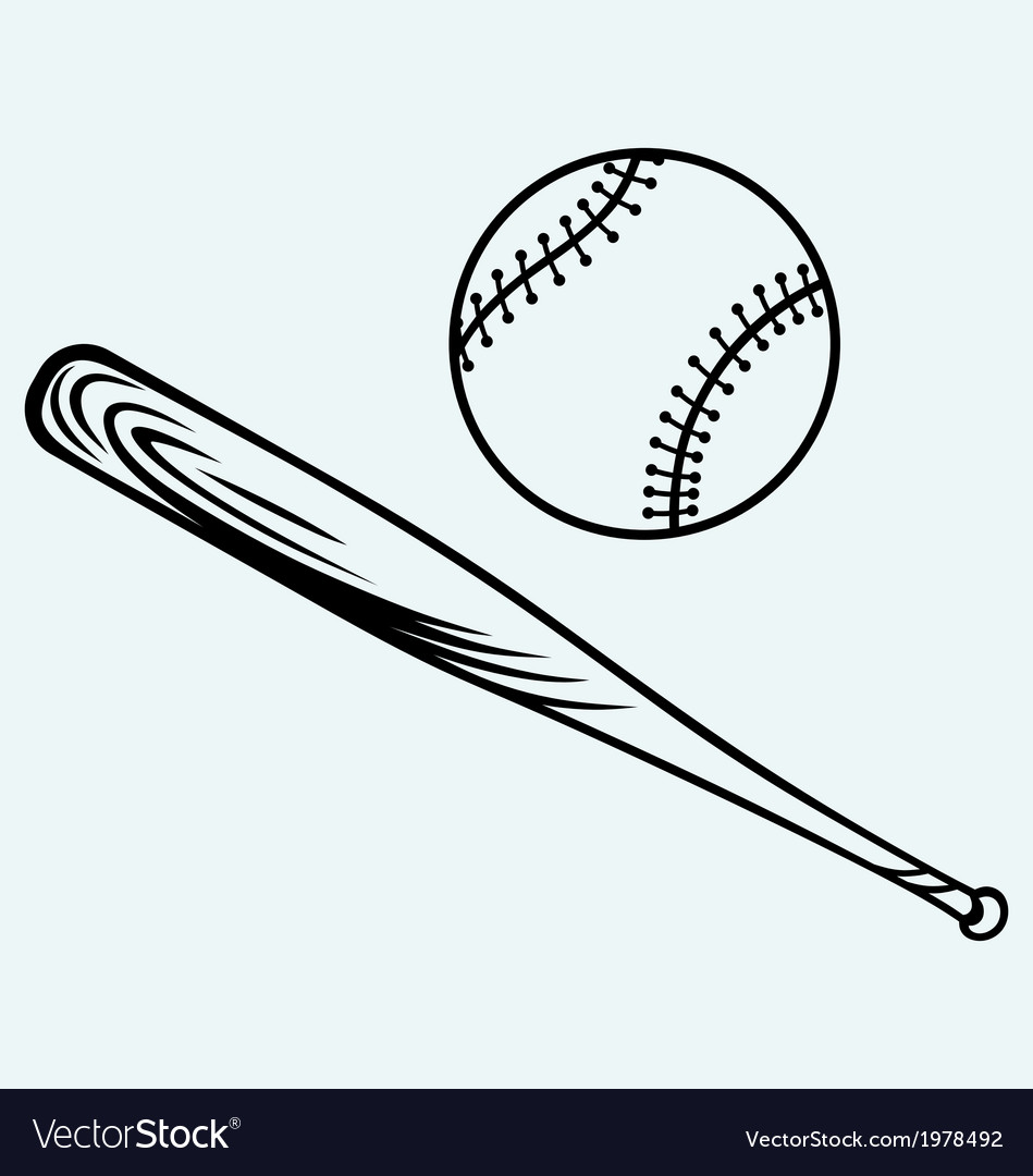 Baseball and baseball bat vector