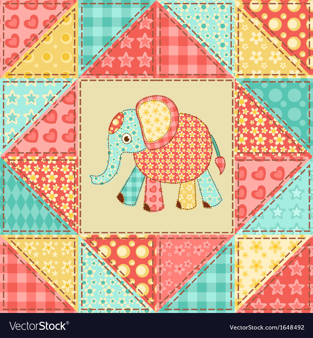 Elephant quilt pattern vector