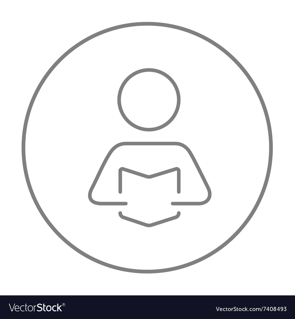 Man reading book line icon vector