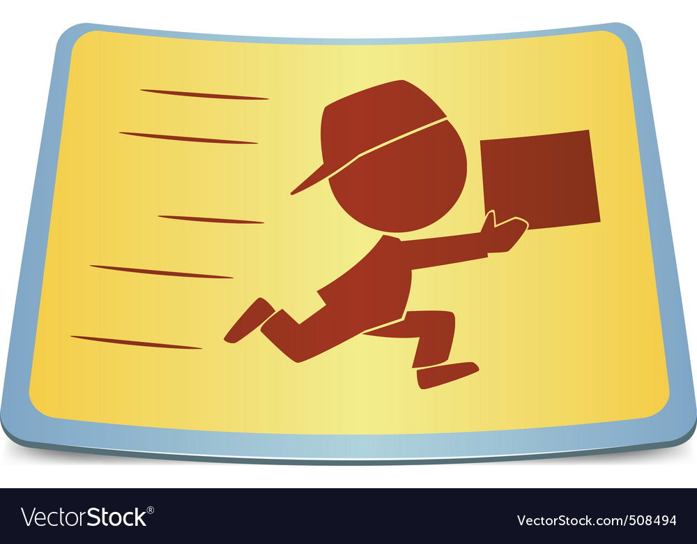 Cartoon label fast delivery vector