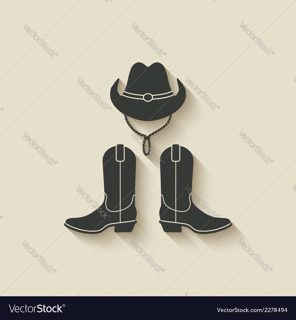 Cowboy hat boots icon vector