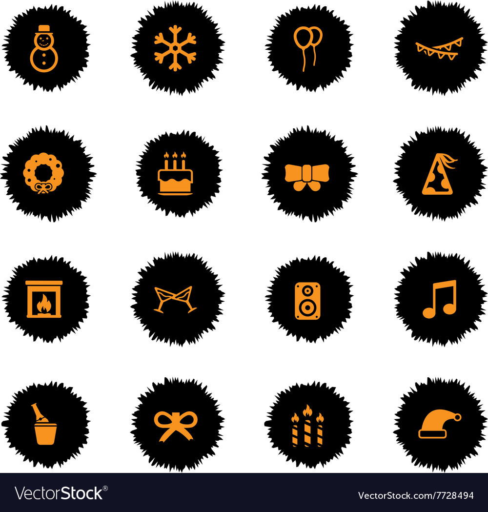 New year simply icons vector
