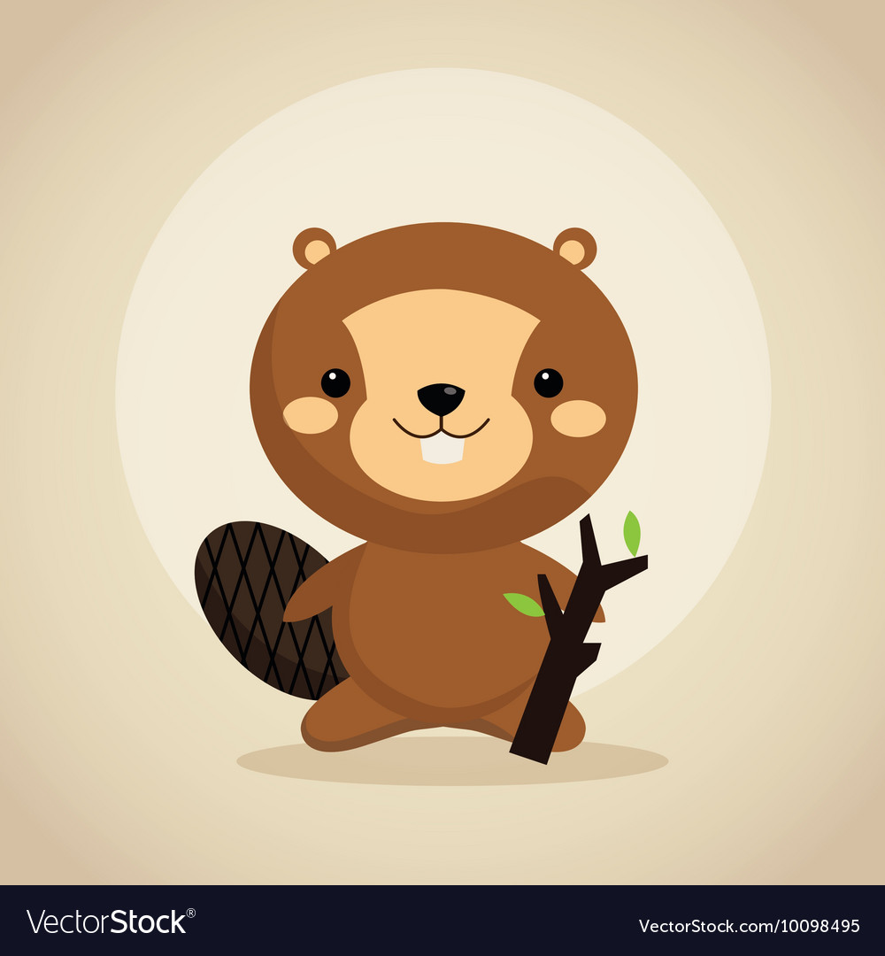 Beaver cartoon icon woodland animal vector