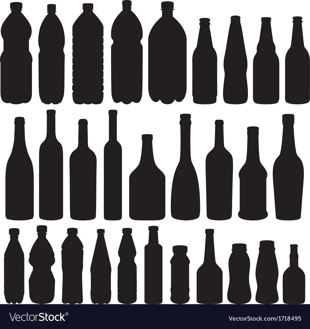 Bottle collection  silhouette vector