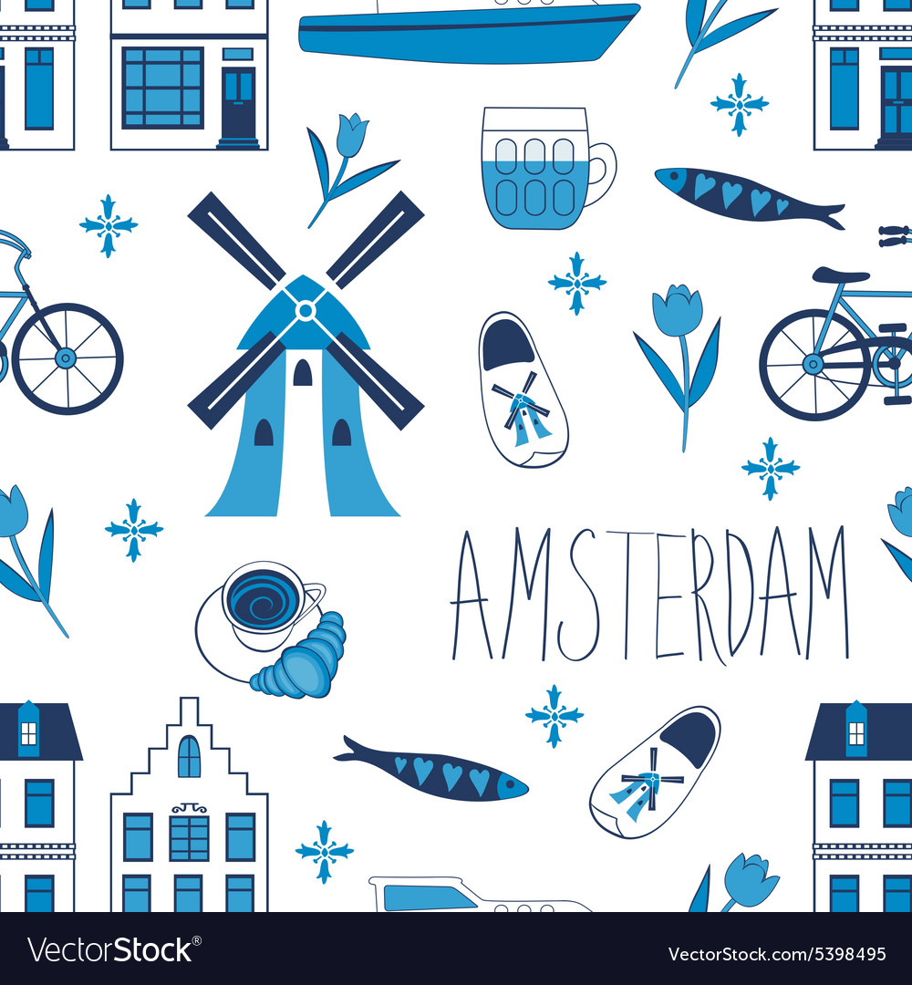 Colorful amsterdam icons seamless pattern vector
