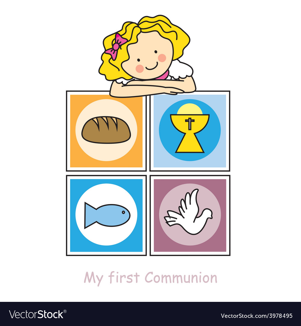 Girl first communion card vector