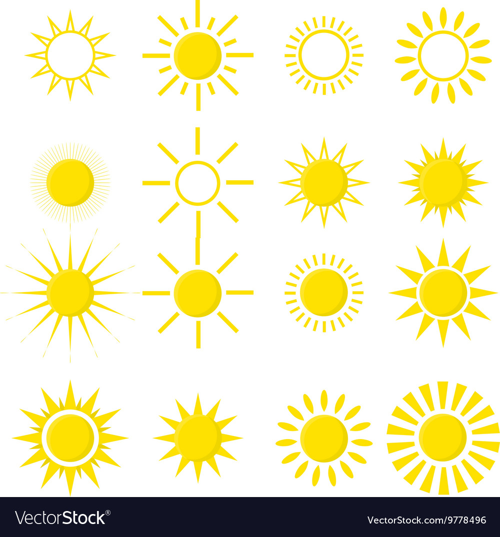 Set of sun icons isolated on white background vector