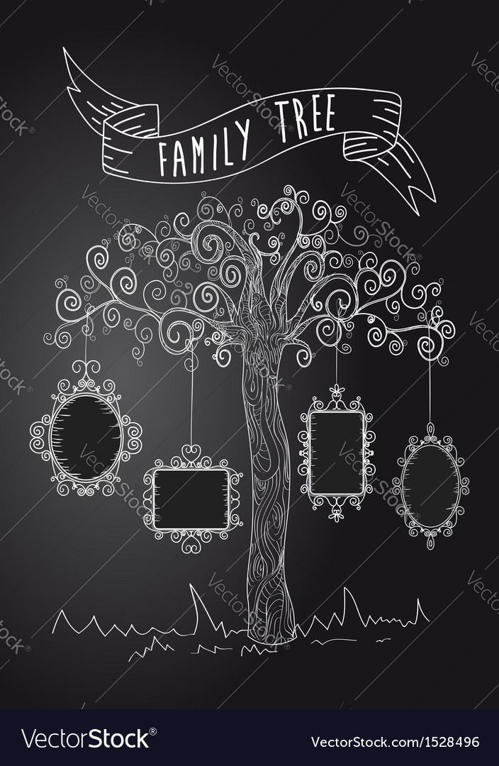 Vintage frames tree vector