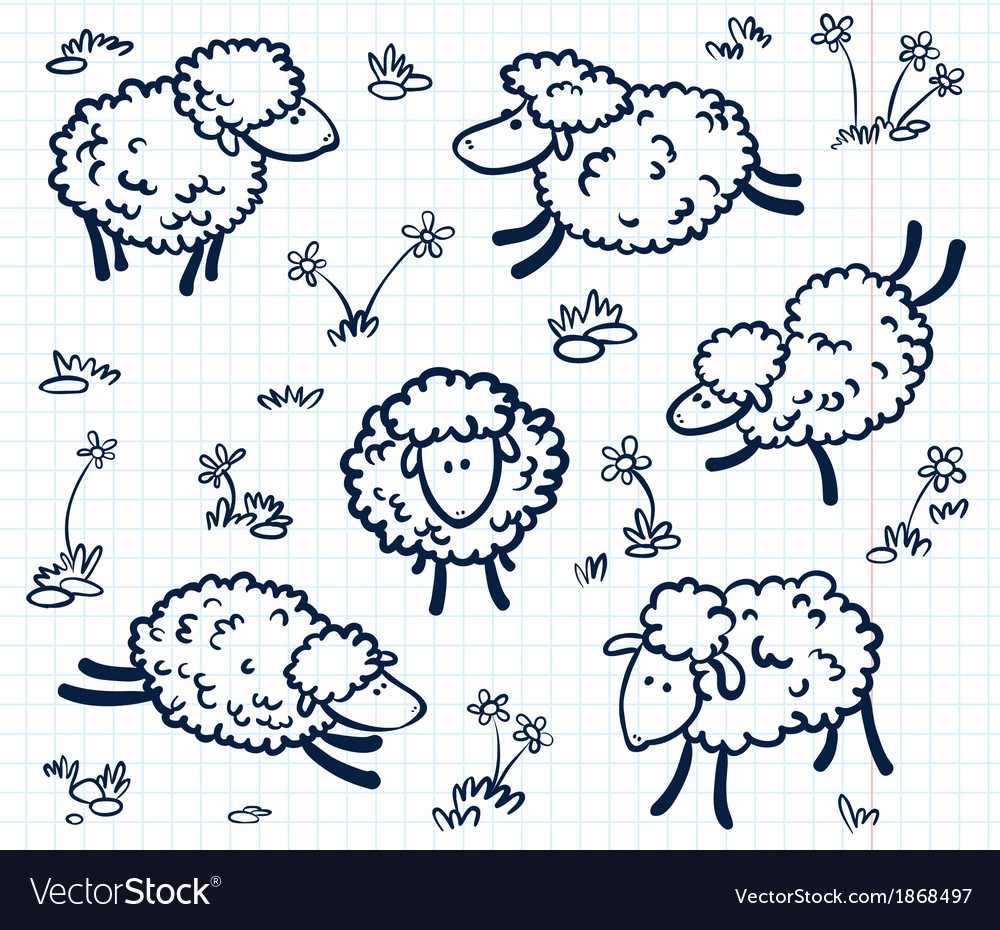 Doodle with sheeps vector
