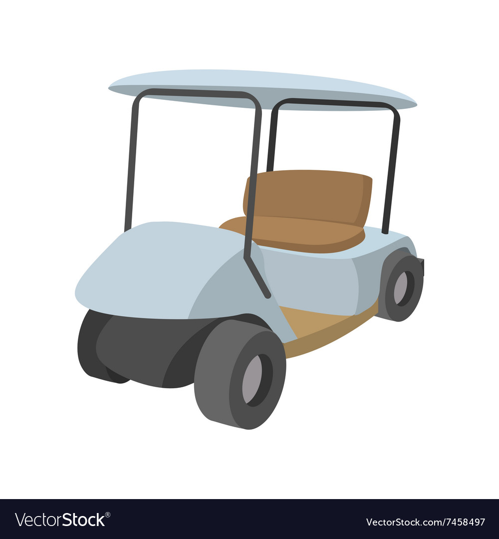Golf car cartoon icon vector