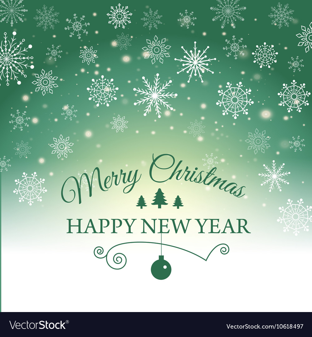 Happy new year and merry christmas ecard vector