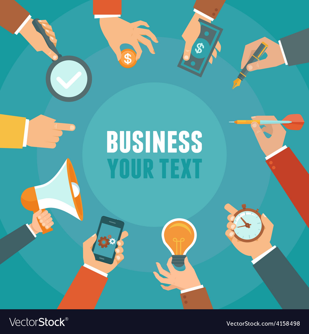 Business and management concept in flat style vector