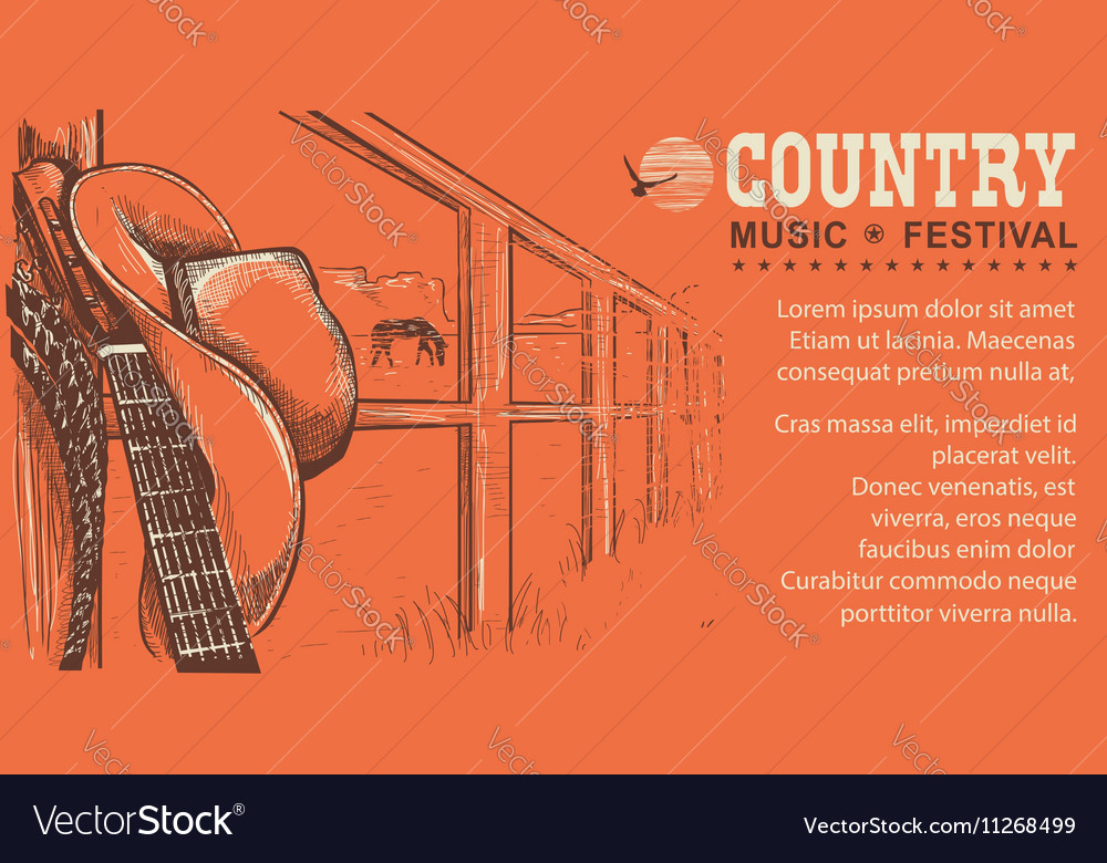 Western country music with cowboy hat and music vector