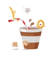 Cartoon Brown and White Stripe Soda or Juice Cup vector image