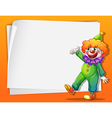 A clown beside an empty space vector image vector image