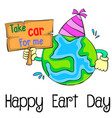 earth day cartoon style design vector image