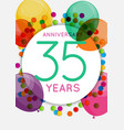 template 35 years anniversary congratulations vector image vector image