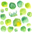 Green watercolor painted stains set vector image
