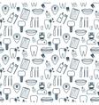 Dental seamless pattern Dark blue linear icons vector image