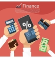 Hands with various business elements vector image
