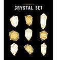 Set of gold color diamond rock elements vector image