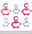 Set of hand-drawn pink piggybank icons stroke vector image