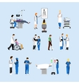 set of doctors and patients in hospital vector image vector image