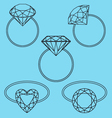 Diamond rings set Vector Image