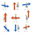 Icon set grey man with arrow vector image