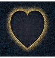 Gold glitter glow heart frame vector image